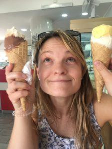 person with ice creams