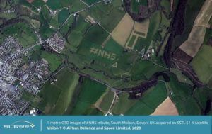 An SSTL S1-4 image of one farmer's tribute to the NHS