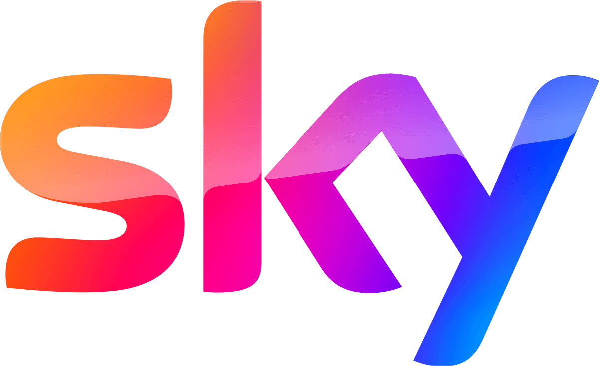 Sky logo - the work Sky in an orange, pink, purple and blue gradient.